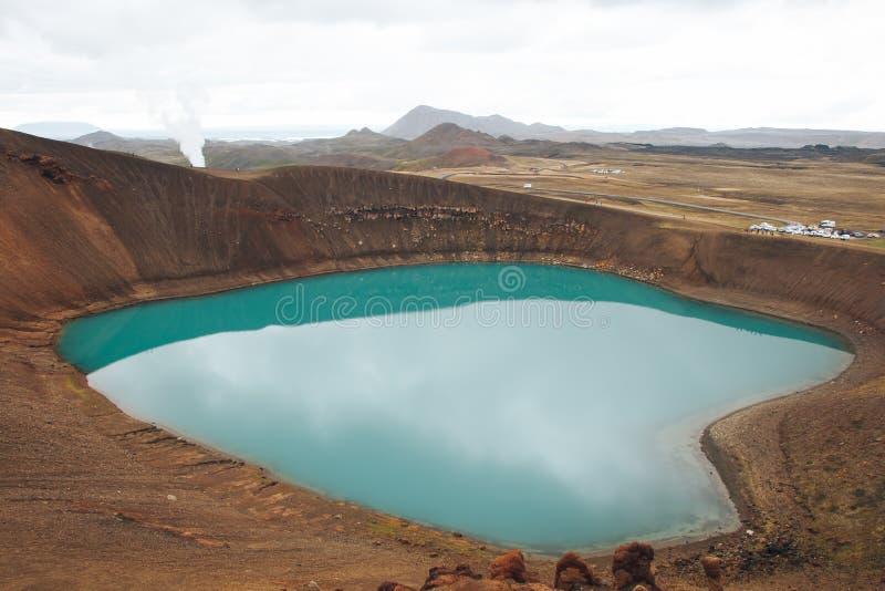 Viti Crater Lake Myvatn Iceland. Discover Öskjuvatn and Viti Lakes in Iceland. The Krafla Viti crater Iceland, located near lake Myvatn in North of the stock photo