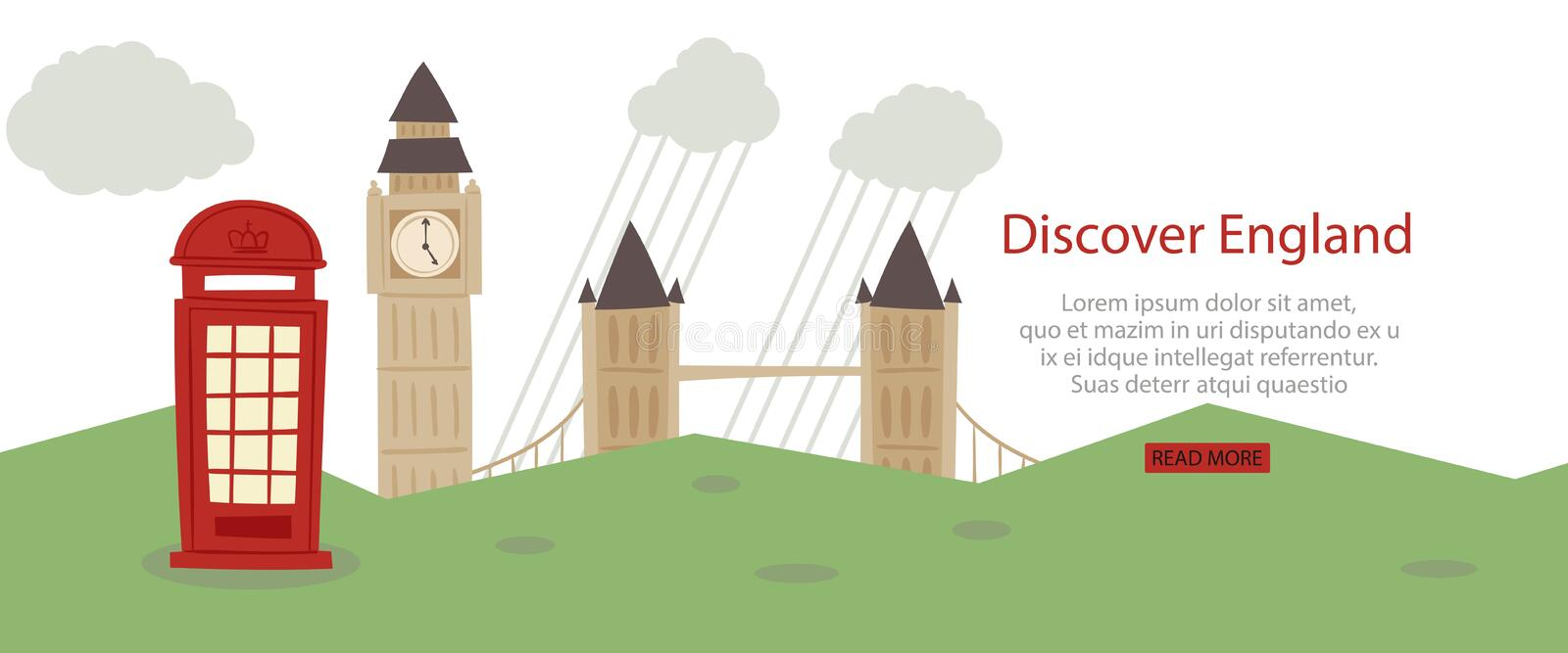 Discover England banner web design vector illustration. London tourist sights and symbols of Great Britain, welcome to stock illustration