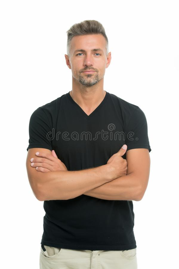 Discover latest styles of v neck t shirts. Feeling casual and comfortable. Menswear and fashionable clothing. Man looks. Handsome in casual shirt. Guy with stock photo