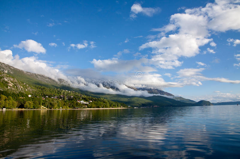 Discover Ohrid Lake. Ohrid Lake, beautiful reflection and nice colors, Lagadin Ohrid Macedonia royalty free stock photos