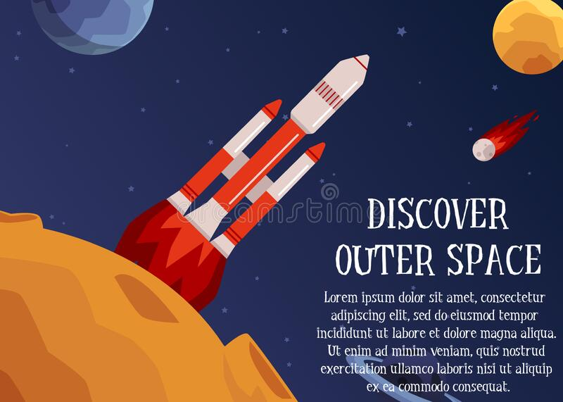 Discover outer space - text and rocket launching to stars vector illustration. Discover outer space - header and rocket starting and launching to stars and stock illustration
