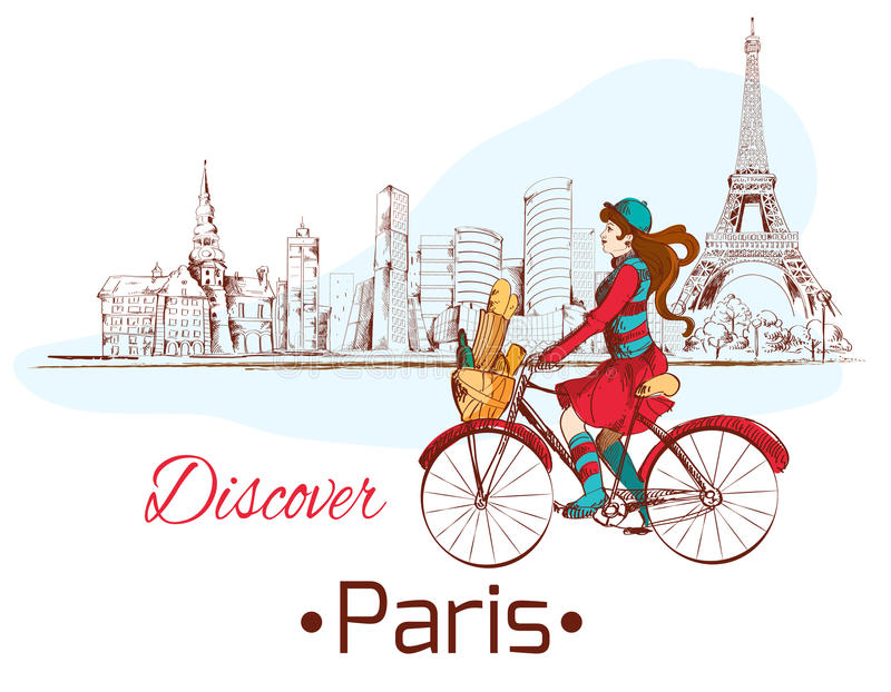Discover Paris poster. Discover Paris sketch poster with gjrl on bike and eiffel tower vector illustration vector illustration