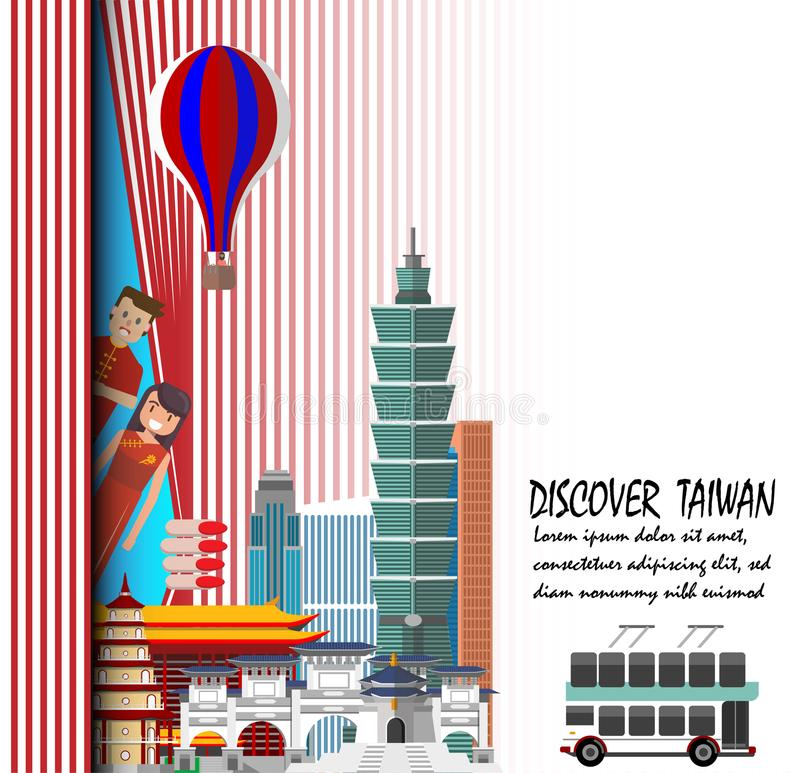 Discover Taiwan 2018 . Travel to Taiwan presentation template. Discover Taiwan. Travel to Taiwan presentation template stock illustration