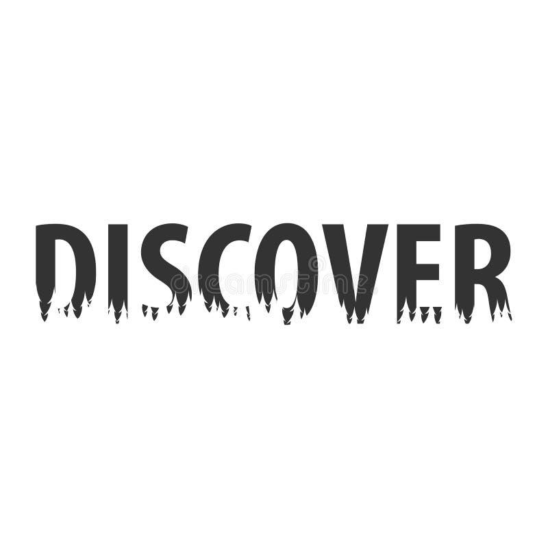 discover Text oder Aufkleber mit Schattenbild des Waldes vektor abbildung