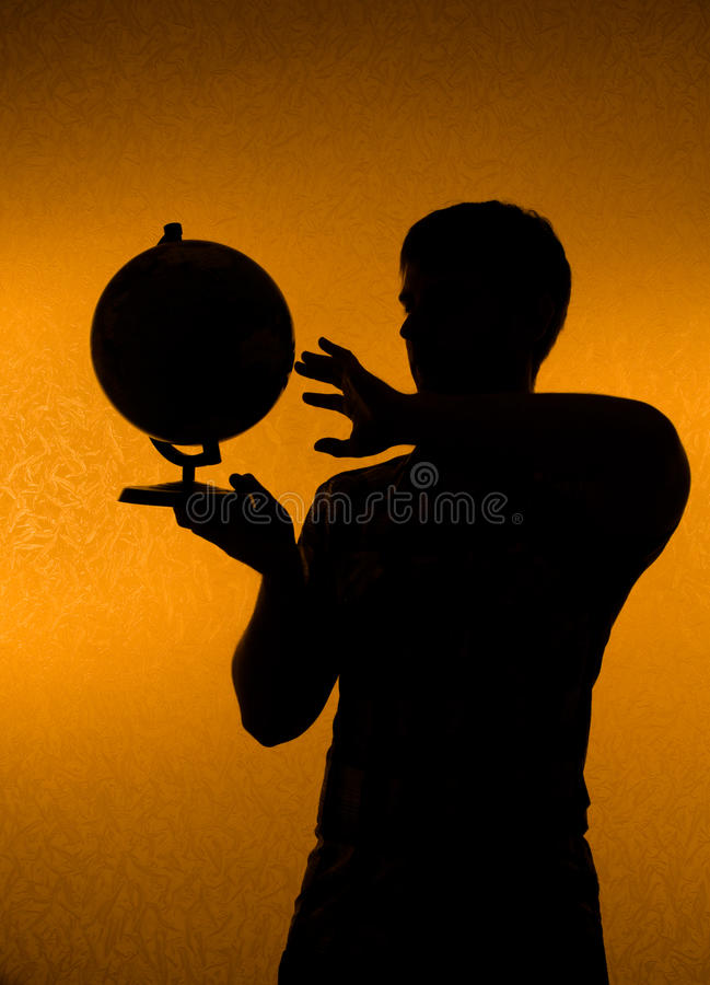 Download Discover The World - Man Holding Globe Stock Photo - Image of pattern, male: 13429036