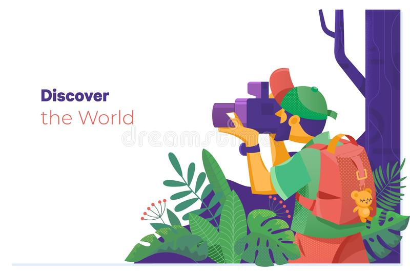 Discover the World.Photographer taking pictures in the middle of nature. Discover the World.Travel explore, discover and trip to world. Photographer taking vector illustration