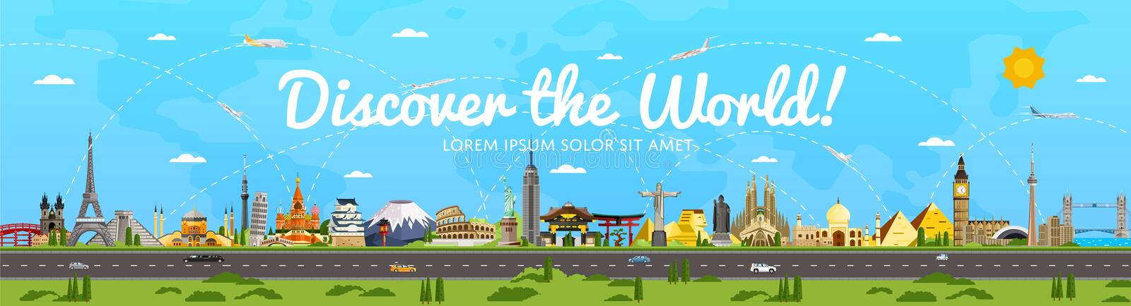 Discover the World poster with famous attractions. Vector illustration. Sphinx, Himeji Castle, Toronto TV tower, Torii gate, Egyptian pyramid, Old Town Square vector illustration