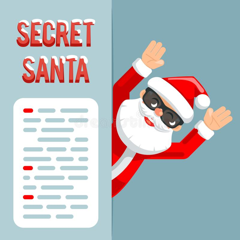 Discovered hands up surender give up revealed secret santa claus peeking out corner cartoon character flat design poster royalty free illustration