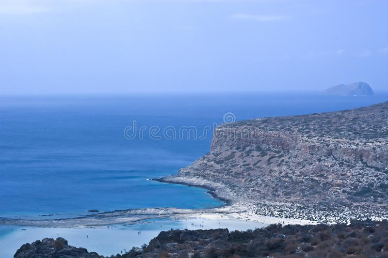 A beautiful stretch of coastline on the blue sea stock photos