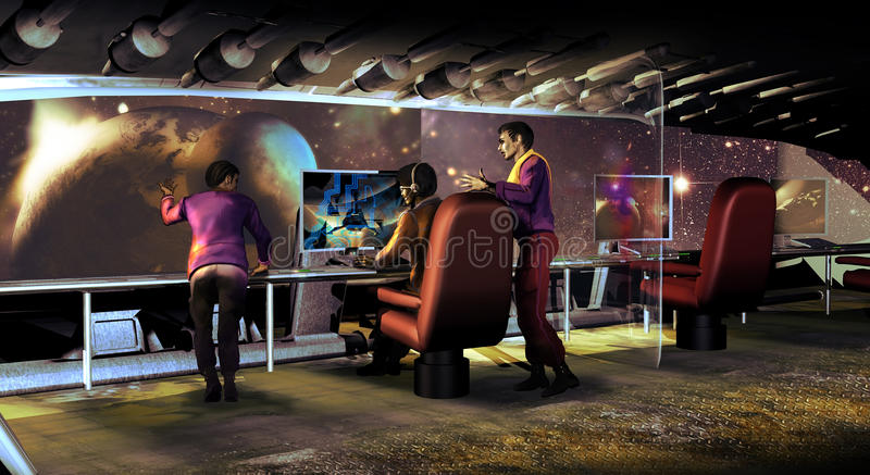Discovering far planets. Several people working behind one of the big windows of a futuristic spaceship, and discussing about their mission in the discovering of royalty free illustration
