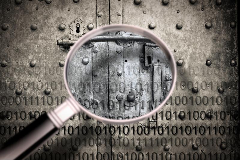 Discovering the secret code -  Concept image, seen through a magnifying glass, of a secret code file agaist a strong and old rusty royalty free stock photography