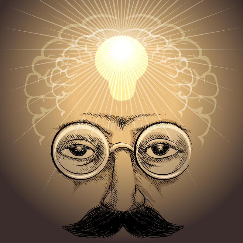 The discovery. Illustration with face of scientist and lamp light up his brains inside as metaphor of discovery drawn in retro style royalty free illustration