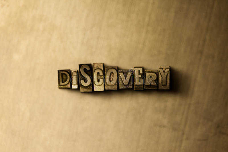 DISCOVERY - close-up of grungy vintage typeset word on metal backdrop. Royalty free stock illustration. Can be used for online banner ads and direct mail royalty free stock image