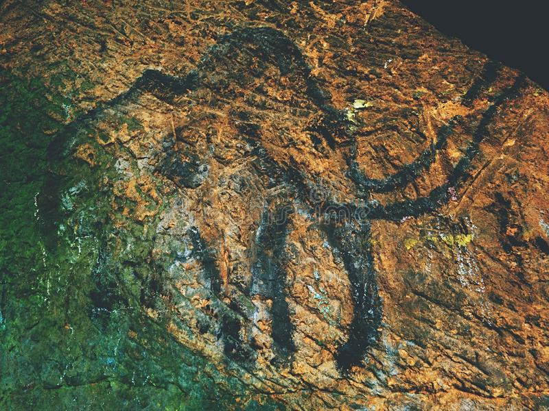 Discovery of human history. Prehistoric art of mammoth in sandstone cave. Black carbon mammoth on sandstone wall. Paint of human hunting, prehistoric picture royalty free stock image