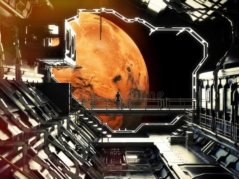 Discovery. Space station in orbit around Mars with lone astronaut enjoying the view. 3d rendering .Elements of this image are furn vector illustration