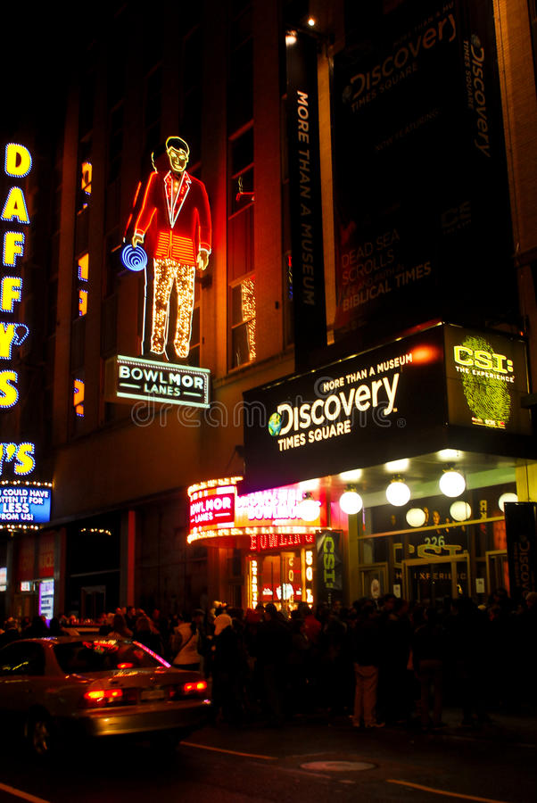 Discovery Times Square Museum, Manhattan, NYC. Outside the entrance to Discovery Times Square Museum on 44th Street in Manhattan, NYC stock photography