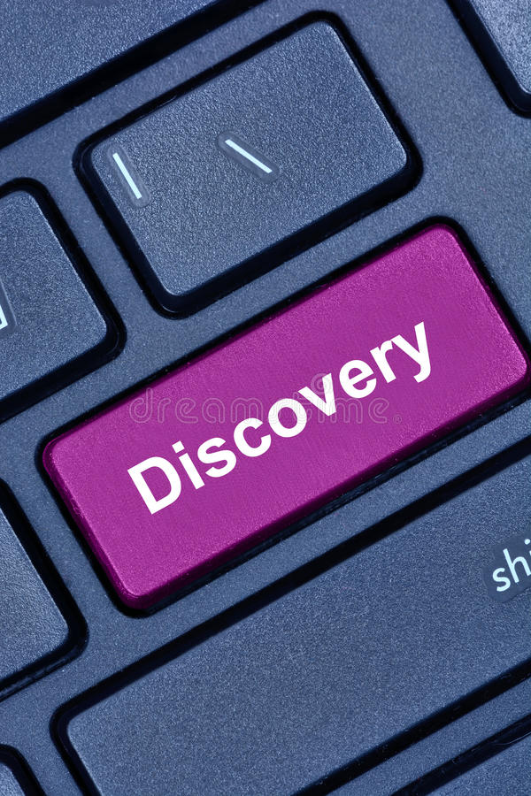 Discovery word on computer keyboard. Button stock photography