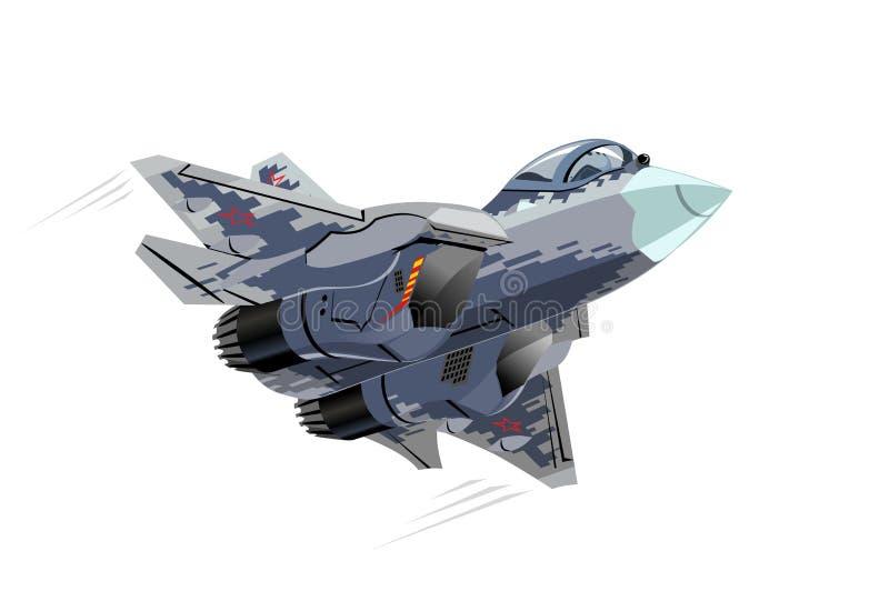 Discrétion militaire Jet Fighter Plane Isolated de bande dessinée illustration de vecteur