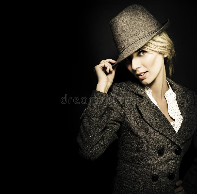 Download Discreet Woman In Vintage Fashion Stock Image - Image of dramatic, blonde: 25286741