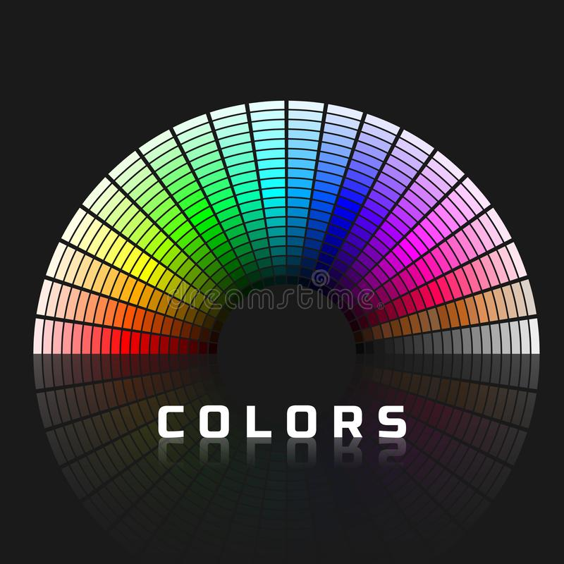 Discrete set of color shades with brown and gray. Semicircle color palette. Rainbow color spectrum. Vector illustration stock illustration