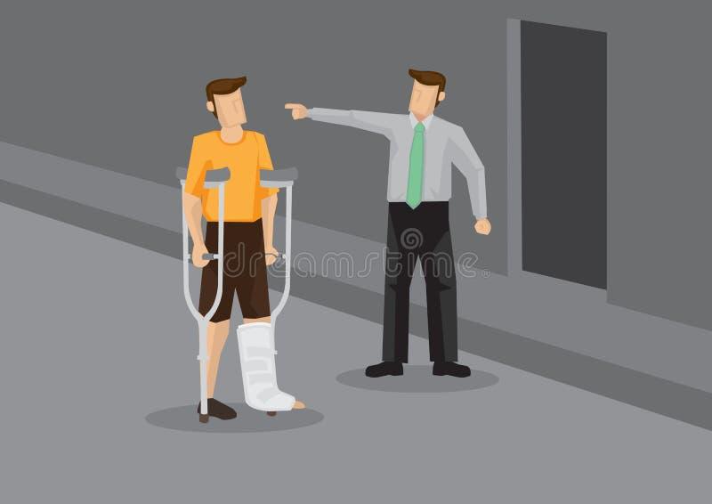 Discriminação contra o empregado ferido ilustração do vetor