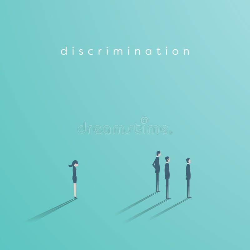 Discriminação de gênero no conceito do vetor do negócio entre a mulher de negócios e os homens de negócios Símbolo da desigualdad ilustração royalty free
