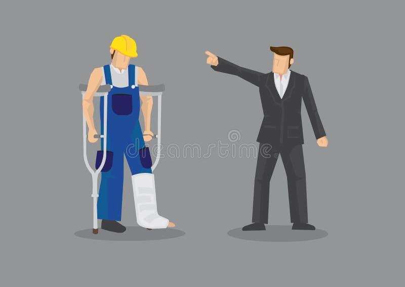Discriminação do empregador contra o vetor ferido Illustrati do trabalhador ilustração stock
