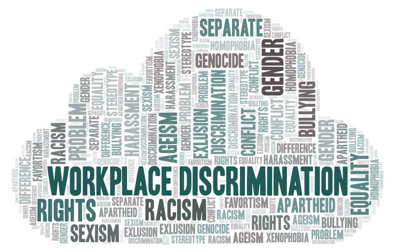 Discriminação do local de trabalho - tipo de discriminação - nuvem da palavra ilustração royalty free