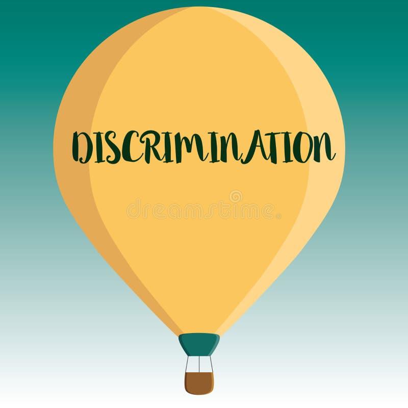 Discriminação do texto da escrita Tratamento prejudicial do significado do conceito de categorias diferentes de exibição ilustração stock