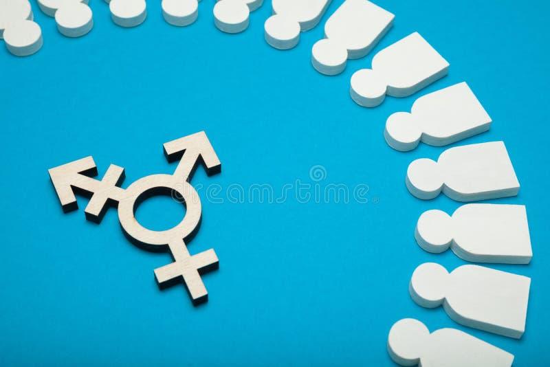Discriminaci?n andr?gina y del transexual, concepto bisexual imagenes de archivo