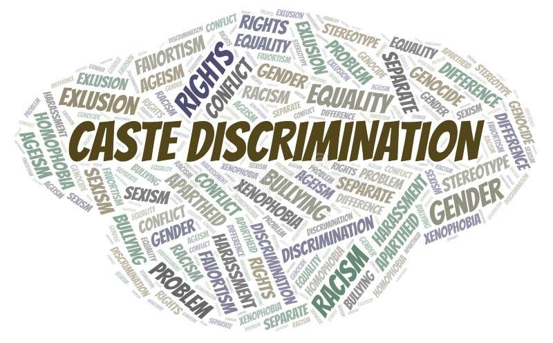 Discriminación de la casta - tipo de discriminación - nube de la palabra ilustración del vector