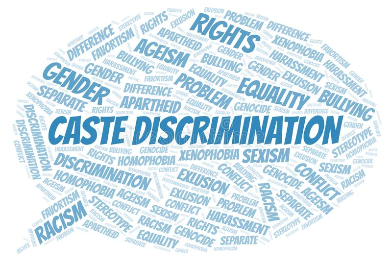 Discriminación de la casta - tipo de discriminación - nube de la palabra libre illustration