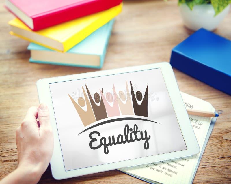Discriminación racista Conce de los derechos fundamentales de la imparcialidad de la igualdad imagenes de archivo