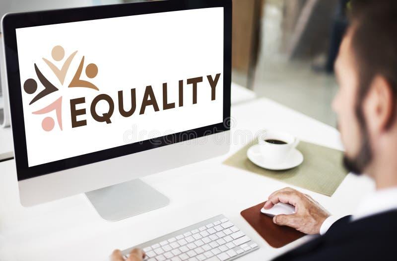 Discriminación racista Conce de los derechos fundamentales de la imparcialidad de la igualdad imagen de archivo libre de regalías