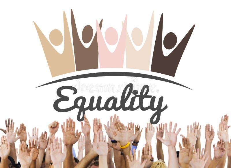 Discriminación racista Conce de los derechos fundamentales de la imparcialidad de la igualdad fotos de archivo