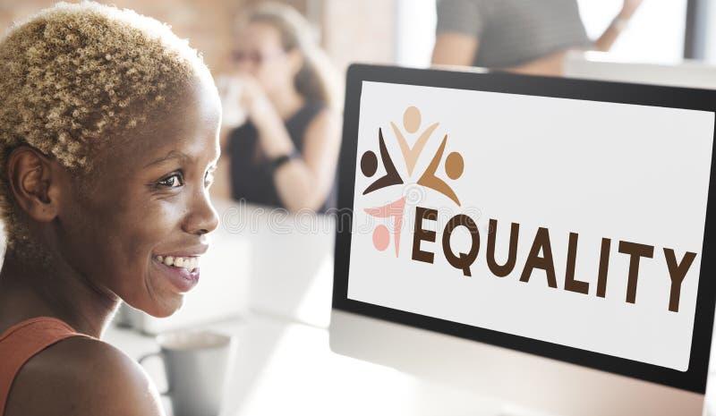 Discriminación racista Conce de los derechos fundamentales de la imparcialidad de la igualdad fotografía de archivo libre de regalías
