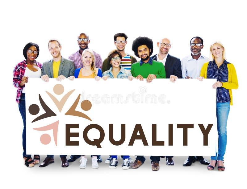 Discriminación racista Conce de los derechos fundamentales de la imparcialidad de la igualdad imágenes de archivo libres de regalías