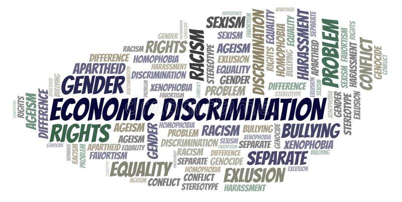 Discrimination économique - type de discrimination - nuage de mot illustration libre de droits