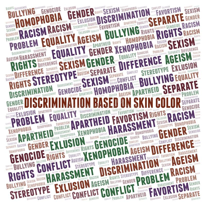 Discrimination Based On Skin Color - type of discrimination - word cloud. Wordcloud made with text only royalty free illustration