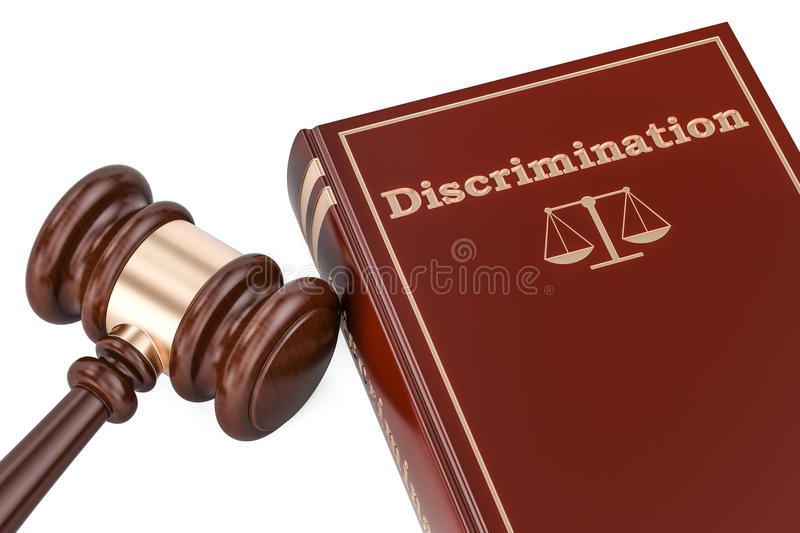 Discrimination concept with gavel and book, 3D rendering stock illustration