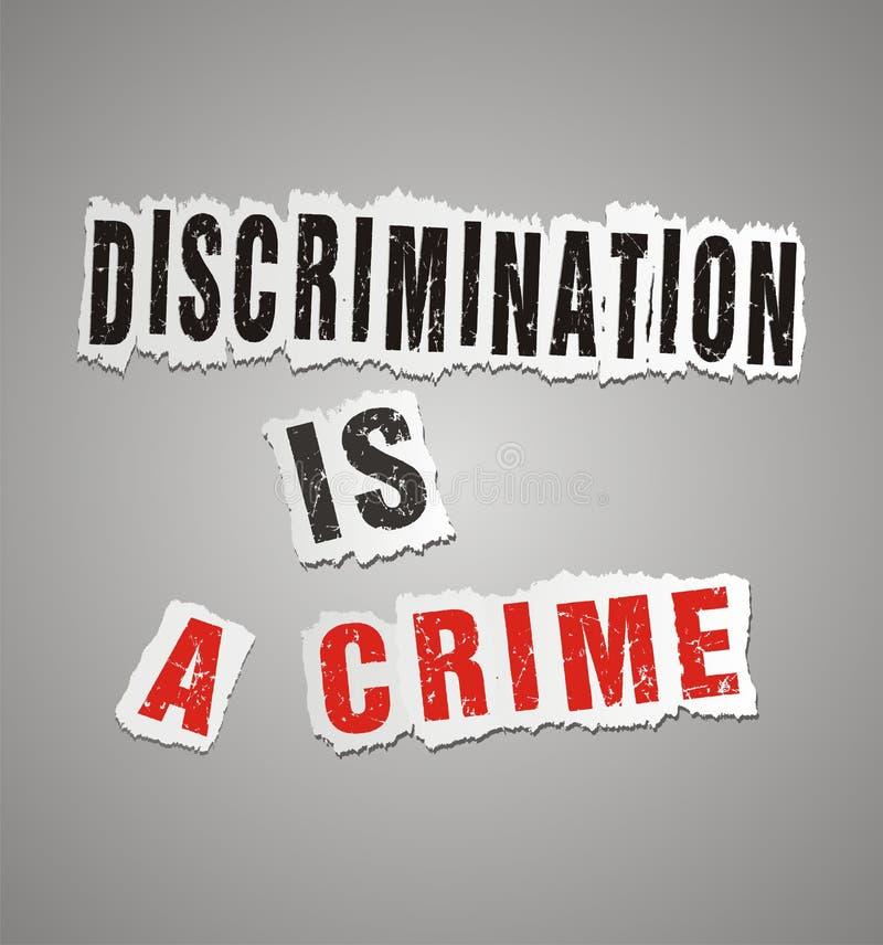 Discrimination is a crime poster royalty free illustration