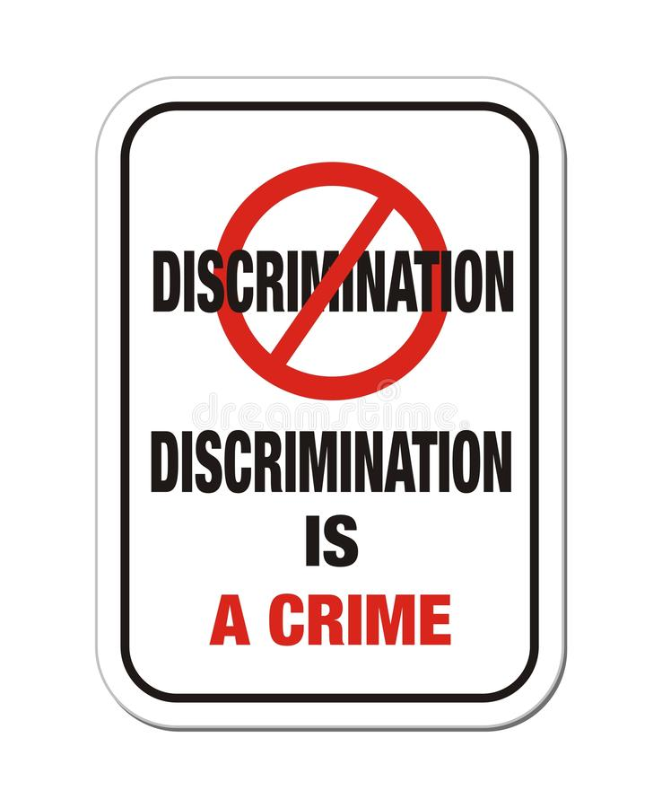 Discrimination is a crime sign royalty free illustration
