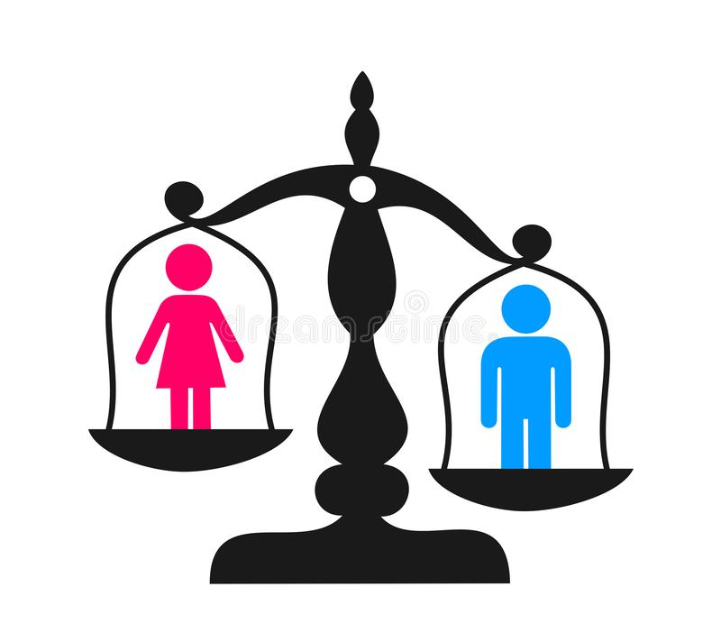 Discrimination and enequal inequality based on sex and gender. Man and male as superior to inferior womna and female. Issue of social handicap and stock illustration