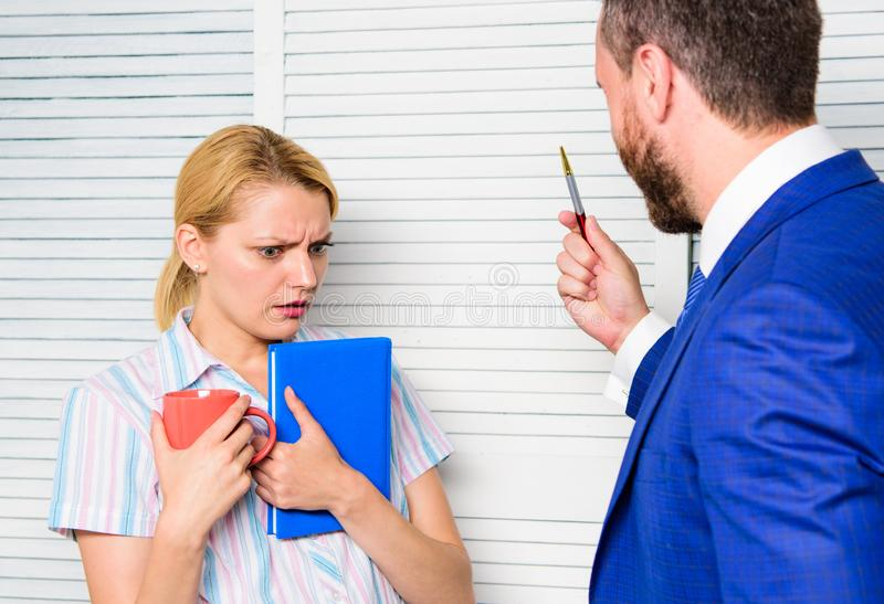 Discrimination and personal attitude problem. Discrimination concept. Prejudice and personal attitude to employee. Tense. Conversation or quarrel between stock photos