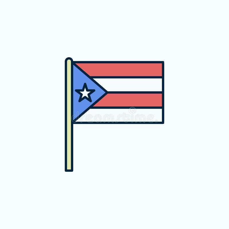 Discrimination raciale icône du drapeau 2 de Puerto Rico Illustration simple d'élément coloré Conception de symbole d'ensemble de illustration stock