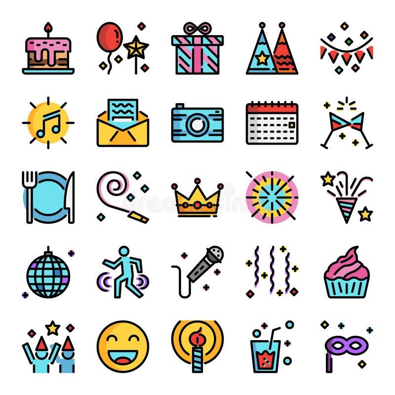 Icônes Parfaites De Pixel De Fête Danniversaire