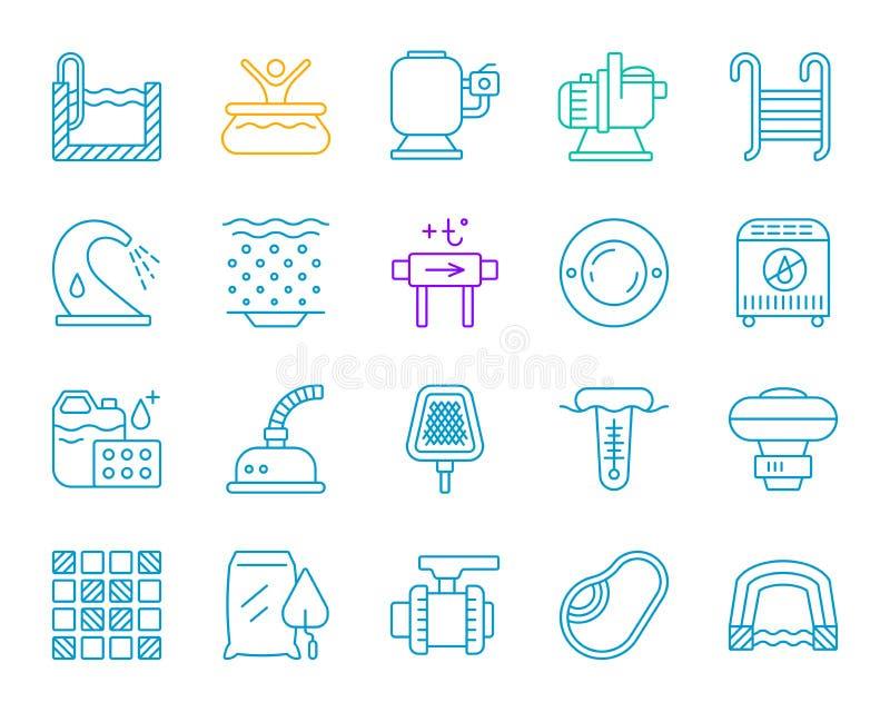 Discrimination raciale simple d'équipement de piscine ensemble de vecteur d'icônes illustration de vecteur