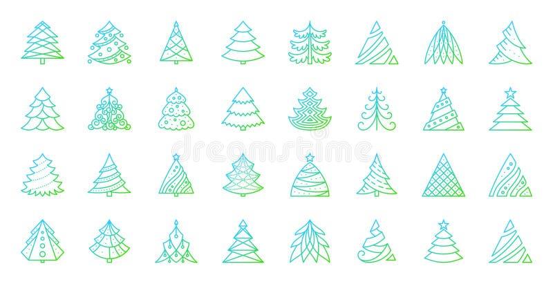 Discrimination raciale simple d'arbre de Noël ensemble de vecteur d'icônes illustration de vecteur