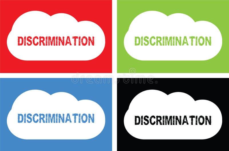 DISCRIMINATION text, on cloud bubble sign. DISCRIMINATION text, on cloud bubble sign, in color set stock illustration