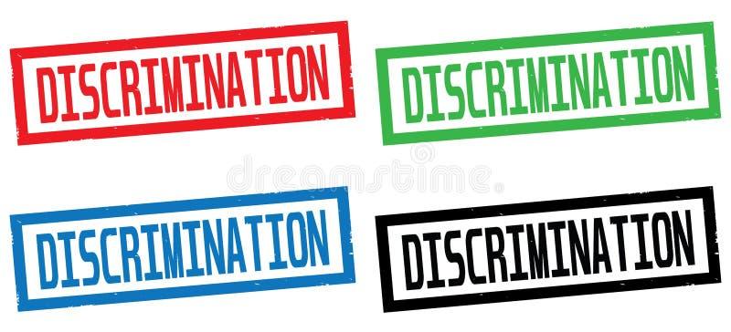 DISCRIMINATION text, on rectangle border stamp sign. DISCRIMINATION text, on rectangle border stamp sign, in color set royalty free illustration